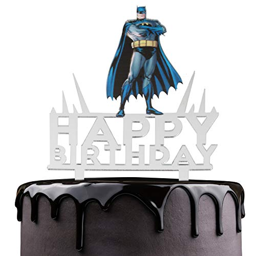 Batman Happy Birthday Cake Topper - Justice League Theme Party Cake Décor - Baby Shower Child Birthday Party Supplies - Adorable The Dark Knight Superheroes Mirrored Acrylic Decorations -