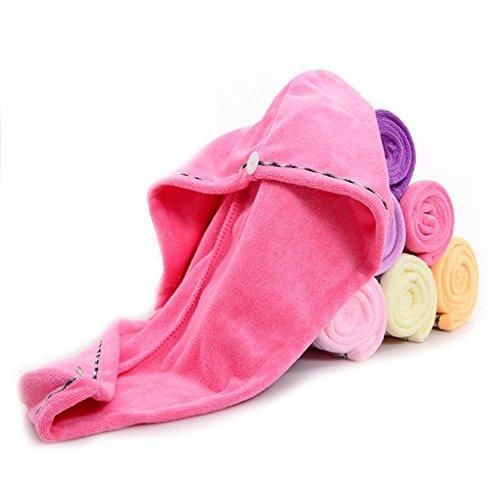 Microfiber Bath Hair Towel Wrap Turban Twist Ultra Absorbent Quick Portable Dry Soft Women Hair Hat Cap Pink For Spa Travel