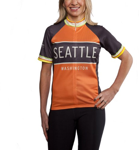 Classic Racer Seattle Cycling Jersey, Orange and Black, Women's Club Cut, Vintage Retro Styling