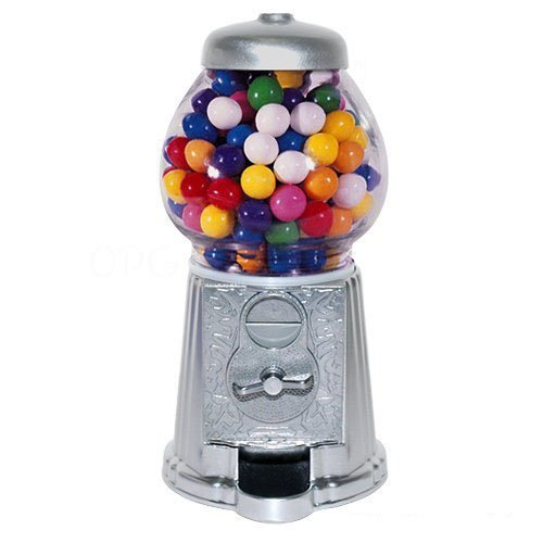 Medium Size 11'' Metal and Glass Candy Gumball Machine, Silver Color by Vending Machines