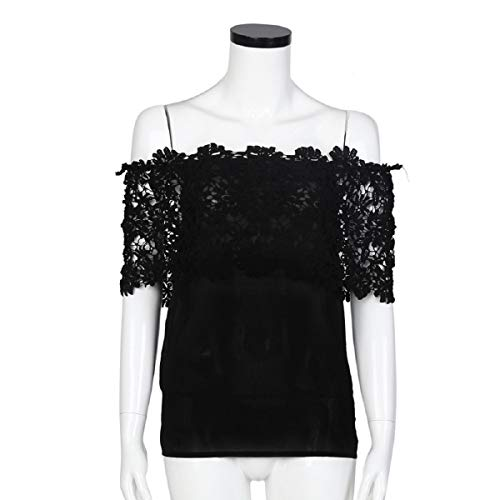 Tops for Women LJSGB Ladies Lace Tops Off Shoulder Bluse Chiffon Bluses Ladies Party Tops Lady Summer Tops Bluses Black