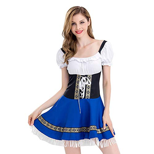 CCatyam Oktoberfest Dress Women, Costume Beer Girl Maid Suit German Traditional Carnival Party Blue ()