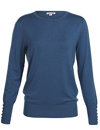 Luna Flower Women's Classic Basic Solid Round Scoop Neck Knit Long Sleeve Ribbed Button Details Tops Pullovers Sweaters BLUE_MIST M