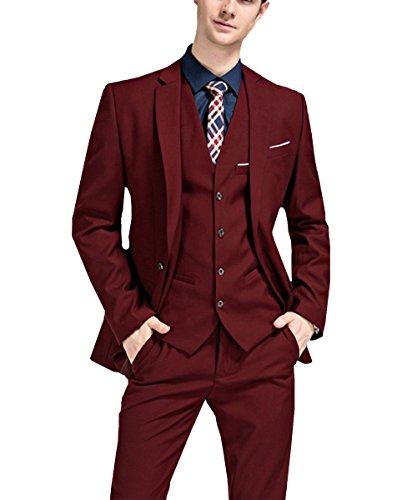 White Leisure Suit (Pretygirl Men's 2017 Latest Leisure Slim Fit 3 Piece Suit One Button Wedding Groom (Suit Blazer+Vest+Trousers))