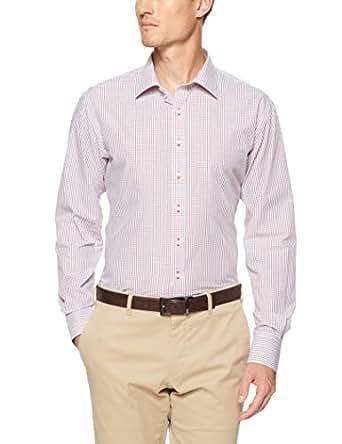 Van Heusen Men's Euro Fit Shirt Small Check, Red, 40cm Collar x 86cm Sleeve