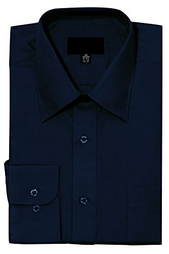 Small Navy Color (G-Style USA Men's Regular Fit Long Sleeve Solid Color Dress Shirts - NAVY - Small - 32-33 )
