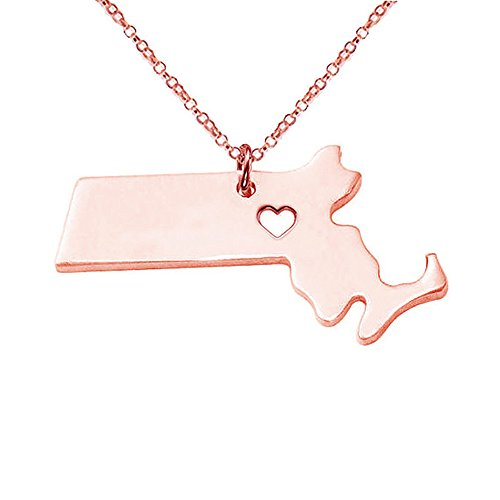 Meiligo 18K Gold Silver Country Map Charm Pendant Massachusetts State Map Necklace Jewelry
