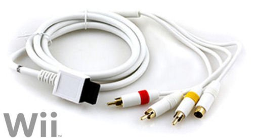 Video Game Accessories Wii S-VIDEO AV CABLE - GOLD PLATED - Audio Video Composite RCA & S-AV Cord Wii U