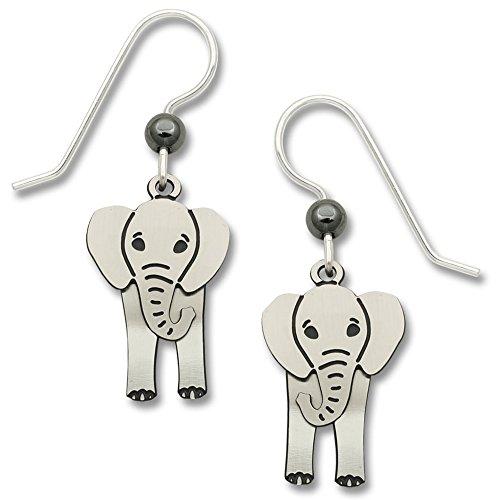 (Two-Part Elephant Dangle Earrings w/Swaying Head, Sterling Silver Ear Wires )