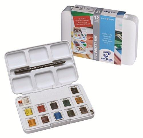Watercolor Pocket Box - Van Gogh Royal Talens Rembrandt Soft Pastels Portrait Set, Set of 12 Colors