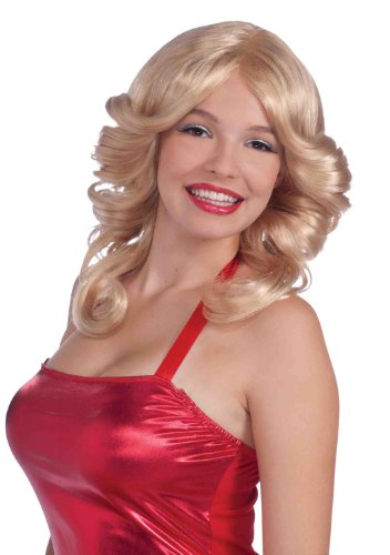 Forum Novelties Women's 70's Disco Angel Farrah Costume Wig, Blonde, One (Farrah Fawcett Costume)