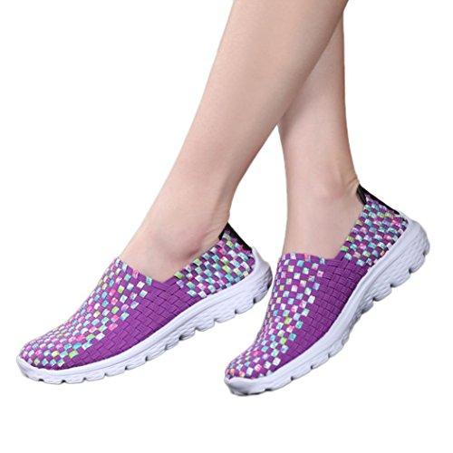 todaiesホットレディースカジュアルスポーツ靴ファッションWoven通気性フラットシューズサンダルビーチ靴