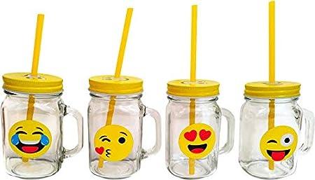DISOK - Jarra EMOTICONOS. Divertidas jarras con Formato emoticonos para Regalar en comuniones, Fiestas, Bodas, bautizos.