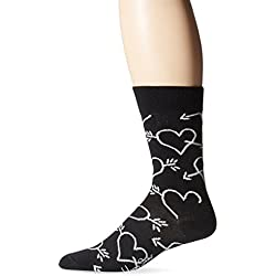 Happy Socks Men's 1pk Unisex Combed Cotton Crew-Black Hearts and Arrows