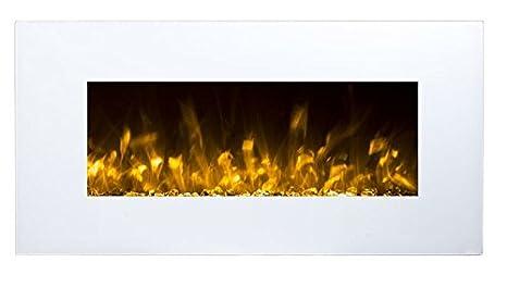 Elektrokamin Glow Fire Neptun, Wandkamin elektrisch (1500 Watt Heizlüfter, Farbige LED-Beleuchtung; Glasscheibe, Dimmer, Fernbedienung) weiß (Flammen mit Kieselsteinen)