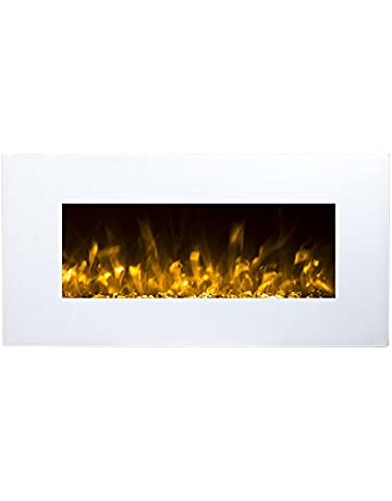 e1e235154e8 Chimenea Eléctrica Glow Fire Neptun, chimenea de pared eléctrica (1500 W  calefactor, LED