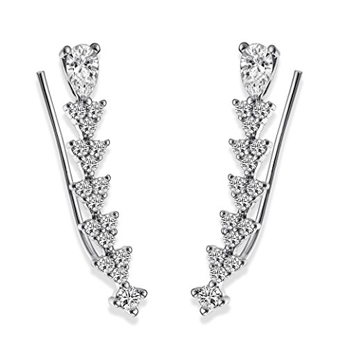 EAR VINES Ear Cuff Pin Cubic Zirconia Ear Crawlers Climbers 1 Pair
