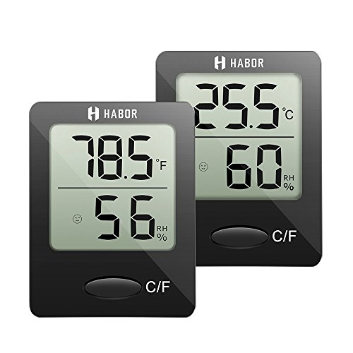 Habor Hygrometer Thermometer (2 Pack) Digital Indoor Humidity Monitor Humidity Gauge Humidity Meter with Standing Wall Hanging Magnet for humidifiers dehumidifiers Greenhouse Basement Babyroom by Habor