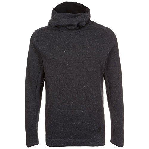 Nike Mens Tech Funnel Hoodie 805214 Sweatshirt (Medium, Gris (Charcoal Heathr / Black) 071) - Nike Leather Jacket