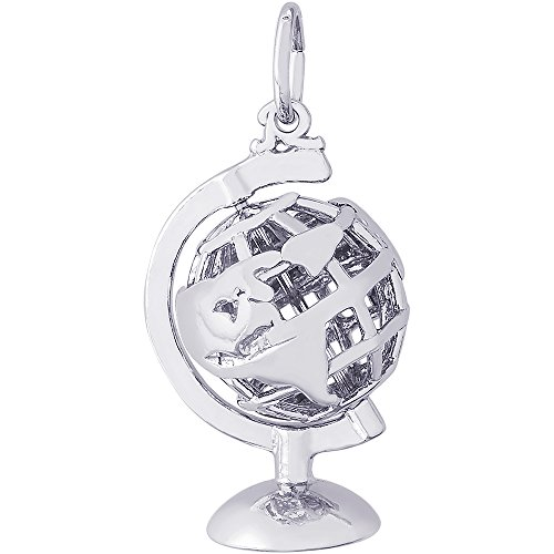 Rembrandt Charms 14K White Gold Globe 3D W Stand Charm (0.83 x 0.55 (Gold 3d Globe Charm)