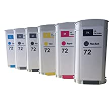 Tyjtyrjty Compatible Hp 72 Ink Cartridges for Hp Designjet T610/620/770/1100/1200- Set of 6 with Mk,phk,c,m,y,gy Sold By Tyjtyrjty