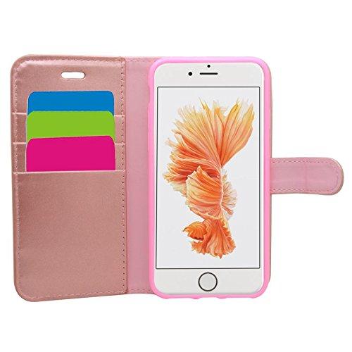 Samrick Etui portefeuille avec Carte de Crédit / D'affaire en Cuir pour iPhone 7/8 Rose Or