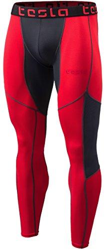 TSLA TM-MUP79-RCH_Medium Mens Mesh-Panel Compression Pants Baselayer Cool Dry Sports Tights Leggings MUP79