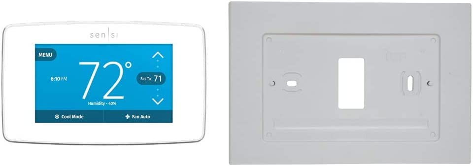 Emerson Sensi Touch Wi-Fi Smart Thermostat & F61-2663 Wall Plate for Sensi Wi-Fi Programmable Thermostat, White