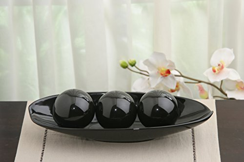 Large Product Image of Hosley's Black Decorative Bowl and Orb Set. Ideal GIFT for Weddings, Special Occasions, and for Decorative Centerpiece in Your Living / Dining Room
