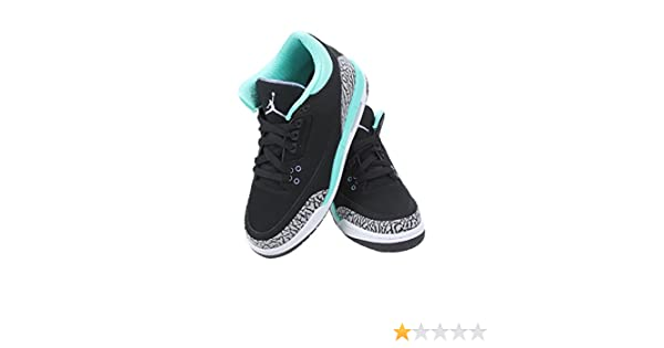 Amazon.com: Nike Girls Air Jordan 3 Retro (GS) Kids Black/Bleached Turquoise/Wolf Grey/Iron Purple 441140-045 (SIZE: 6.5Y): Shoes