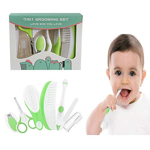 Essential Baby Healthcare and Grooming Kit Set - Nail Care Set with Nail Clipper, Brush, File, Scissors, Comb, Toothbrush & Finger Toothbrush for Infants, Newborns, Kids, Boys and Girls (Green) from Eurlove