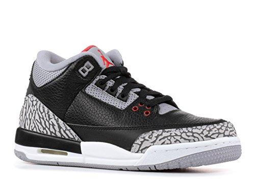 - Jordan Air 3 Retro OG Big Kids' Basketball Shoes Black/Fire Red/Cement Grey 854261-001 (3.5 M US)