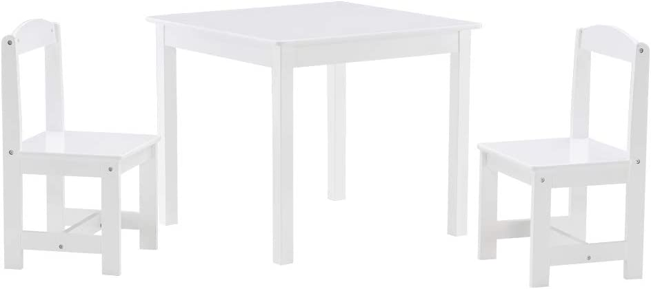 VALUE BOX Kids Wood Table with 2 Chair Set, 3 Pieces Set, 2 Chair and 1 Activity Table, Children Studying Desk for Toddlers in Reading, Drawing and Dining (White)