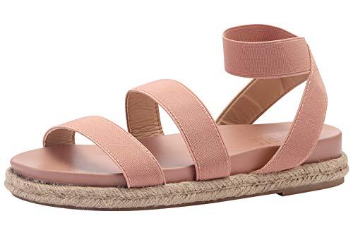 Sofree Women's Elastic Espadrille Flat Sandals Pink