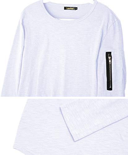 Col Fit Manches Sweat Unie Pullover Blanc Longues Basic Outwear Homme Tops Pull Aitosula T Tunique Blouse Rond Sport shirt Zipper Haut Slim wxnq8vCX6H