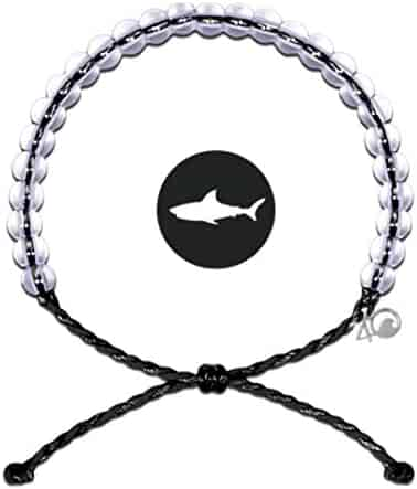 4OCEAN Bracelet with Charm Made from 100% Recycled Material Upcycled Jewelry (Black Shark)