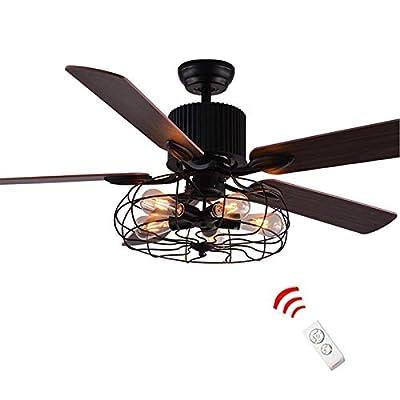 KALRI Industrial 52-Inch Ceiling Fan Semi Flush Mount Ceiling Light Fixture Vintage Retro Fan Chandelier Pendant Light with 5-Light