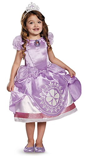 Sofia The First Costume 4t (Disguise Disney Sofia The First Light-Up Motion-Activated Girls Costume, Medium/3T-4T)