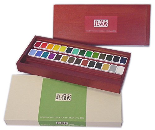 Holbein Shin Gansai 28colors Set Japanese style painting toning Solid Watercolor Cake color for Sumi-Painting from Japan