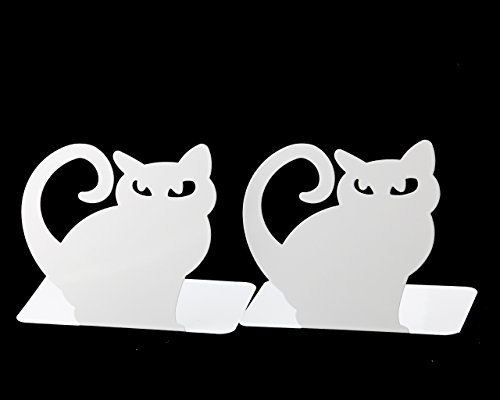 Cute Vivid Lovely Persian Cat Book Organizer Metal Bookends For Kids School Library Desk Study Home Office Decoration Gift (White) by Apol