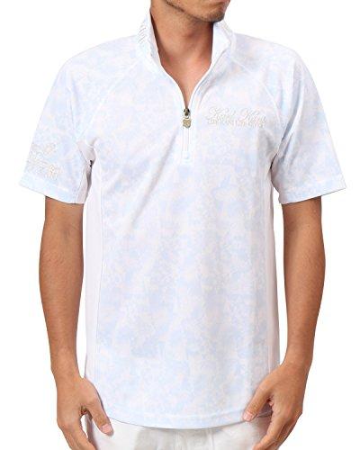 [カールカナイ ゴルフ] Karl Kani GOLF ポロシャツ 吸水速乾 変形パターン ハーフ ZIP リゾート ダイヤ 総柄 ポロ 182KG1210 ホワイト Lサイズ