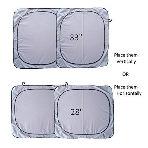 Windshield Sunshade Premium-Fabric-240T Size Chart (Images 2-4) for Cars SUV Trucks Minivans Keeps Your Vehicle Cool Heat Shield Sunshade (2pc - L)