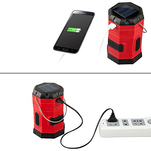 【4 PACK】TANSOREN Solar USB Rechargeable or 3 AA Power Supply LED Camping Lantern Flashlight with DC Charging Line and''S'', Survival Light for Camping, Hiking, Reading, Hurricane, Power Outage by TANSOREN (Image #2)