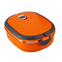 Bento Box - Portable Stainless Steel Thermos Bento Lunch Box Thermal Food Container 900ml for Kids Single Layer Orange