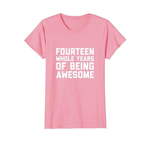 Womens 14th Birthday Shirt Gift Age 14 Year Old Boy Girl Tshirt Tee Small Pink