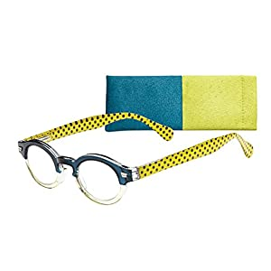 """Campbell"" Women's Round Lightweight Reading Glasses by ICU (Yellow, 2.00)"