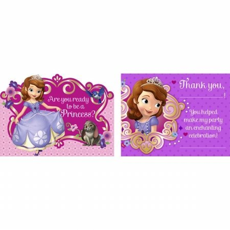 Sofia the First Invitations / Thank You Post Cards w/ Envelopes (8ct each)