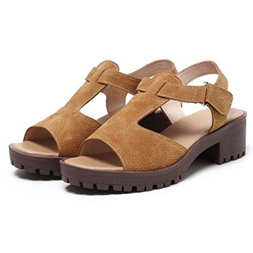 Coolcept Mujer Chunky Tacon Sandalia Zapatos Brown