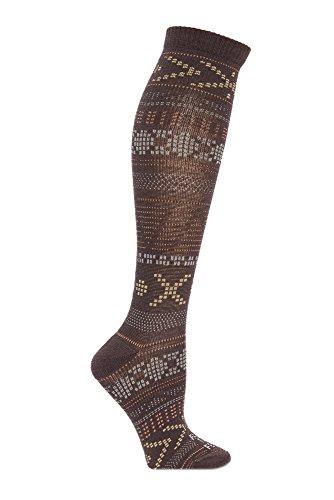 Farm to Feet Women's Mahtomedi Ultralight Knee-High Socks, Large, Brown/Lead grey