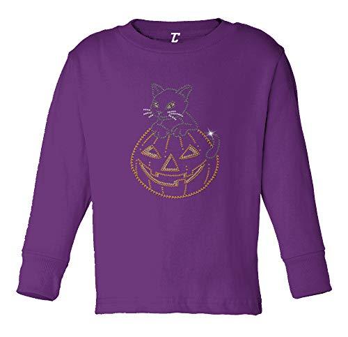 Cat in Pumpkin - Rhinestone Halloween Long Sleeve Toddler Cotton Jersey Shirt (Purple, 5T/6T)